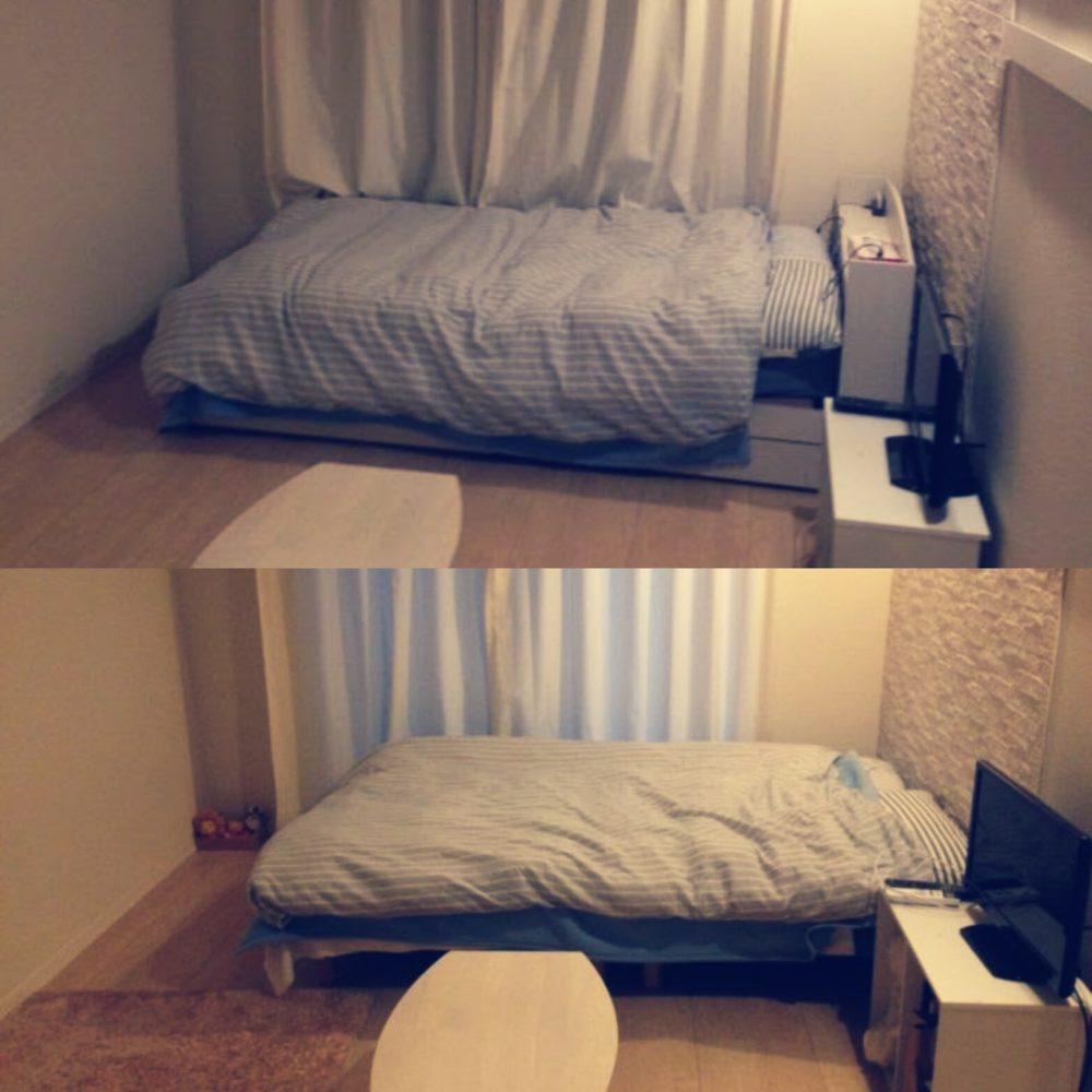 8畳一人暮らしシングルベッドからセミダブルに替えた