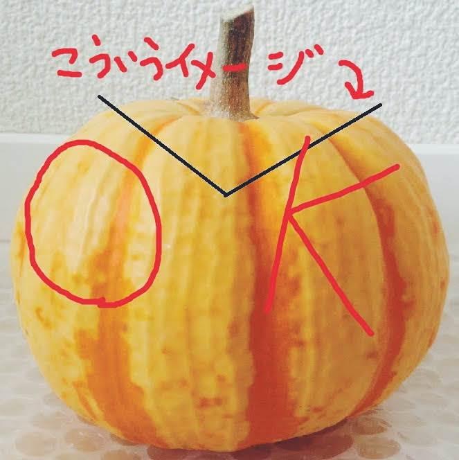 かぼちゃは斜めに切る