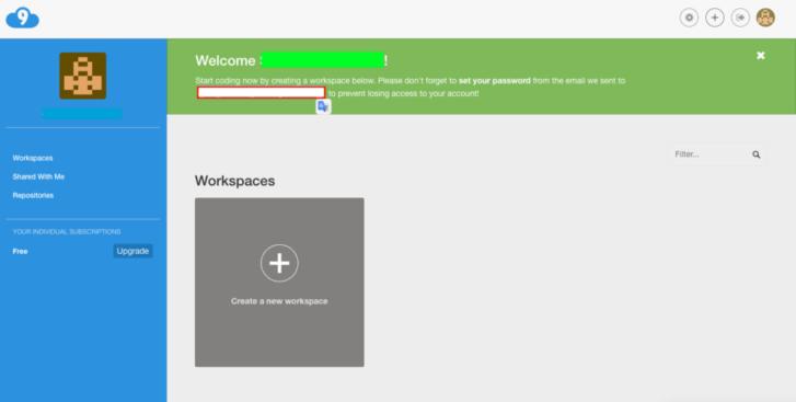 Cloud9登録完了後の画面